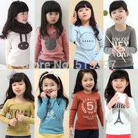 2014 spring and autumn spring cartoon letter girls clothing child long-sleeve T-shirt tx-2415 basic shirt  CC001A