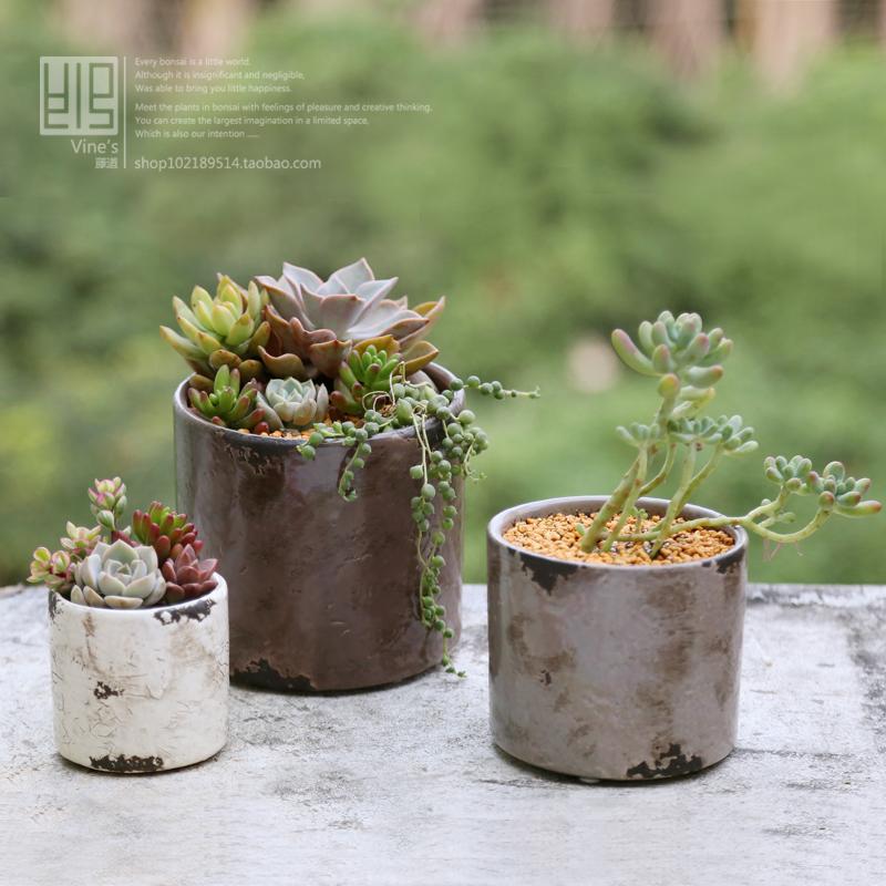 milky white ceramic flower pot crack meat flower pot ceramic plant