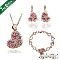 Valentines Gifts 2015 18K Gold Plated Heart Necklace Bracelet Earrings Fashion Dubai Jewelry Sets For Wedding Free Shipping