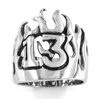 Free Shipping! Flame Lucky 13 Ring Motor Biker Ring Stainless Steel Jewelry Punk Crown Ring SWR0149
