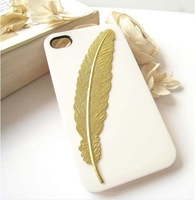 "DIY Handmade ""harry potter"" golden feathers bookmarks hard case cover For iPhone 5/5S studded case,Free shipping 10pcs/lot"