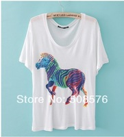 New Fashion Ladies' Elegant cute colorful horse print T-shirt short sleeve O-neck Casual slim shirts brand designer tops