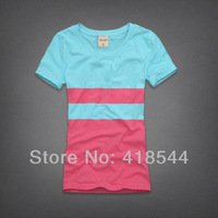 Free Shipping 2014 Spring A new arrival Women's Summer T shirts High quality short sleeve Stripe t-shirts for women FW201401