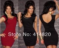 Free shipping 2014 New Fashion Women Sexy O Neck Mini Bodycon Party Dress Casual Bandage Dress
