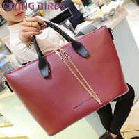 FLYING BIRDS ! 2014 free shipping chain shoulder bag women totes women pu leather handbag Messenger Bag luggage pouch  LS1675
