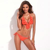 RELLECIGA  New Arrivals! Solid Neon Orange Full-Lined Ruffle Triangle Top with Brazilian Cut Butt Bikini Set