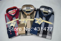 Top quality men cotton plaid shirts casual long sleeve shirts Size S-XXL  free shipping