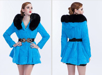 EMS Free Shipping 100% Real Genuine Natural Rabbit Fur Sexy Long Coat Jackets Overcoat Vintage Garment For Women Lady PC545