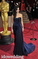 The 86th Academy Awards 2014 Sandra Bullock Drak Blue Satin Trumpet Strapless Floor Length Celebrity Dress