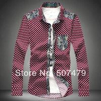 2014 Spring and Summer Men's Turn Collar Fashion Patchwork Polka Dot Casual Blouse Male Plus Size Long Sleeve Shirt Tops