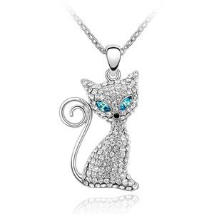 Rhinestone Charm Pendant Cute Cat Pendants Austrian Crystal Jewelry Women's Necklaces 18K White Gold Filled 707(China (Mainland))