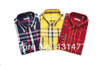 2014 new style men's shirts long sleeve shirt casual business shirts plaid S-XXL free shipping