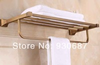 Classical Antique Soild Brass Bathroom Towel Shelf Wall Mount Towel Rack With Bar