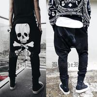 2014 Free shipping new fashion men pants SKULL print casual slim trousers dancing harem pants hip hop pants