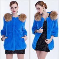 EMS Free Shipping 100% Real Genuine Natural Rex Rabbit Fur Long Coat Jackets Overcoat Vintage Garment Women PC532