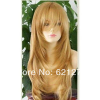 Free shipping@@@Hot sale Long Dark Blonde Curly Hair Women Cosplay Hair Full Wigs