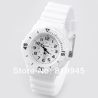 Free shipping WoMaGe Candy Color Plastic Watchband Kid's Watch with 12 Arabic Numbers Indicate