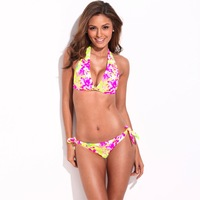RELLECIGA  Sun-Loving High Contrast Floral Blooming Pattern Bikini Top and Bottom