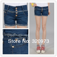 free shipping 2014 Spring new cotton women middle waist jeans shorts with buttons