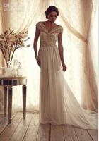 Sexy Chiffon A-line Bridal Gowns V-neck Off-the-shoulder Sheer Back Summer Garden Vintage Wedding Dresses