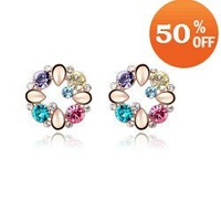 4 colors wholesale 18k gold gold plated crystal fashion stud earrings jewelry for women R8931