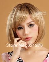 Free shipping@@@Latest Lovely Short Dark Blonde Bob Supple Lady's Full Hair Cosplay Wig