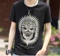 Free Shipping 2014 New spring summer bullet bronzier skull pattern punk rock men's clothing short-sleeve cotton T-shirt Black