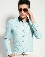 New 2014  men  Business Casual  slim fit shirt 100%cotton brand  long sleeve Polka Dot  polo shirts  HCD038 XS S M L XL XXL XXXL