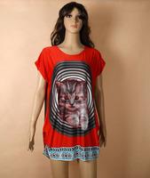 Free Shipping wholesale fashion cat print cool summer dress, o-neck stripe batwing sleeve loose plus size women dress