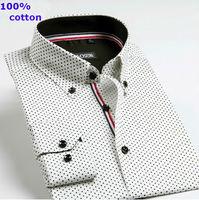 New 2014  men  Business Casual  slim fit shirt 100%cotton brand  long sleeve Polka Dot   shirts  HCT033 XS S M L XL XXL XXXL