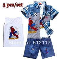 wholesale Cartoon  Boys 3pcs/lot baby boys cartoon clothing sets short sleeves cars T-shirt+short jeans pants summer suits