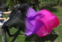 Real Silk fan veil For Belly Dance Thicker Silk Veil Fan Black & Purple & Rose