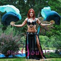 Real Silk fan veil For Belly Dance China Silk Veil Fan Black&Blue