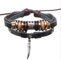 2014 New 3pcs Bracelet multilayer for women&men Vintage tibetan Charm black Leather Bracelets & Bangles Dropshipping W2115