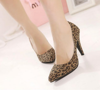 2014 Spring leopard women shoes high heel fashion casual pointed toe thin heels pumps for lady,retail