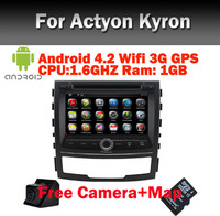 Orignal Ssangyong Korando android 4.0 Car DVD GPS Navigation Wifi 3G Bluetooth Radio TV USB SD IPOD Steering Wheel  Free Camera