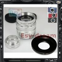 Silver 50mm F1.4 CCTV TV Lens + C Mount Adapter for Fujifilm Fuji FX series X-A1 X-T1 X-pro1 X-E1 X-E2 X-M1 Camera PA243