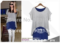 Summer 2014 women's European and American style big yards fake two longshort sleeve pure cotton T-shirt for Women models