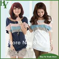 T-186 New Arrival 2014 Short Sleeve Rainbow Striped T Shirts