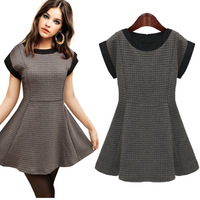 European and American women's 2014 spring One-piece new round neck short sleeve woven cotton stitching princess dress 9176