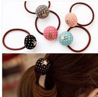 Free shipping 10pcs/lot Cute rabbit dot elastic hair bands Candy mushroom hair ties Nice ponytail holder Fashion scrunchy 2015