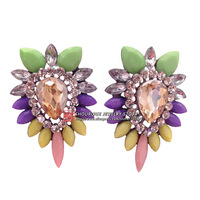 New arrive 2014  women fashion shourouk Korean crysta statement stud Earrings for women jewelry wholesale