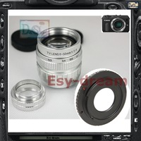 Silver 50mm F1.4 CCTV TV Lens + C Mount Adapter for Canon EOS-M EOSM EOSM2 MarkII Camera PA246