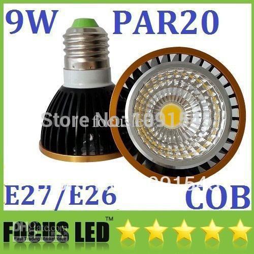 Wholesale - Energy Saving Led PAR20 Light Bulbs 9W 600 Lumens E27/E26/GU10 Dimmable Led Spotlights Warm/Cool White 110V 220V(China (Mainland))