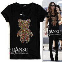 Cc multicolour paillette decoration bear fashion slim short-sleeve T-shirt black and white