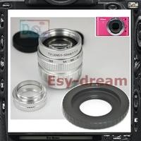 Silver 50mm F1.4 CCTV TV Lens + C Mount Adapter for Nikon Nikon1 J1 J2 J3 S1 V1 V2 AW1 Camera PA245