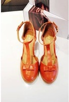 New 2014 Women's shoes vintage fresh brief women's shoes t bow thick heel sandals