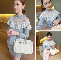 High Quality 2014 New Spring Korean Style Women Beautiful Lace Patchwork Package Hip Slim Dress Free Shipping