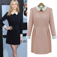 European and American women's 2014 spring new European station repair waist beaded doll collar long-sleeved dress 9167 new