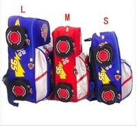Free shipping Cartoon Car 3 size blue&red kinds use Children backpack /schoolbag /boy bags children's kindergarten primary bag